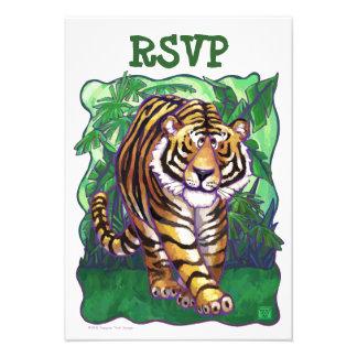 Tarjetas de RSVP del centro del fiesta del tigre
