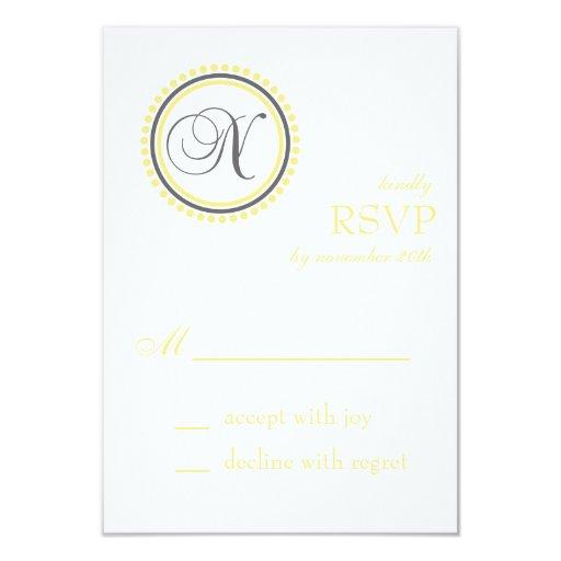 Tarjetas de RSVP del círculo del punto del Invitación 8,9 X 12,7 Cm