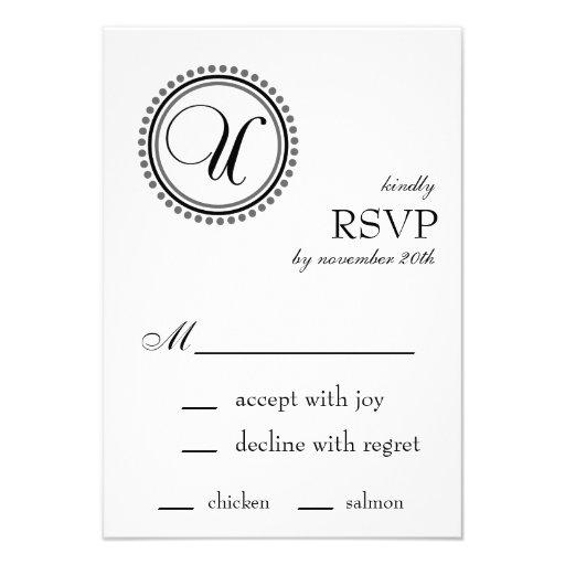 Tarjetas de RSVP del círculo del punto del monogra Invitación