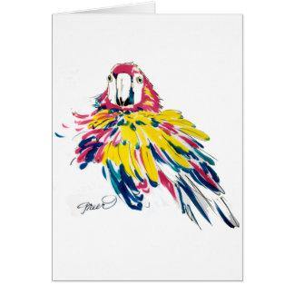 Tarjetas de seda de la pintura del loro del Macaw