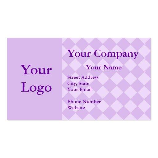 Tarjetas de visita a cuadros púrpuras profesionale