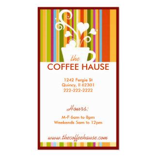 Tarjetas de visita adaptables de la cafetería
