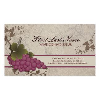 Tarjetas de visita adaptables de la vid del vino
