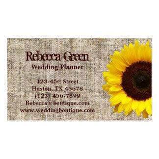 tarjetas de visita amarillas de la arpillera del g