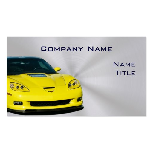 Tarjetas de visita amarillas del Corvette