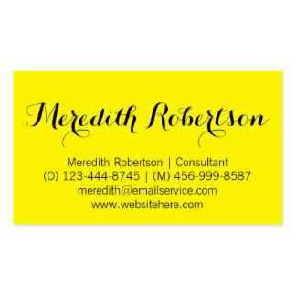 Tarjetas de visita amarillas profesionales de la e