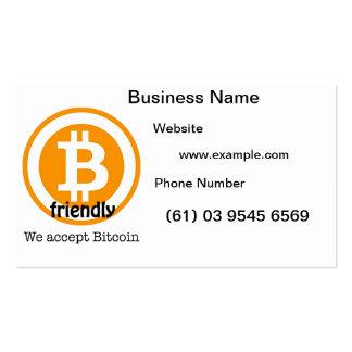 Tarjetas de visita amistosas de Bitcoin