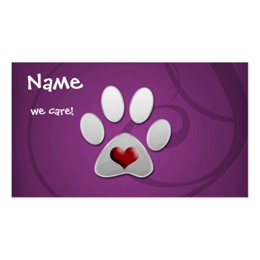 tarjetas de visita animales púrpuras