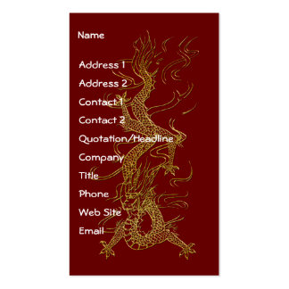 Tarjetas de visita asiáticas del diseño del DRAGÓN