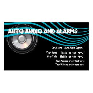 Tarjetas de visita autos del audio y de las alarma