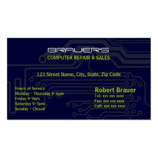 Tarjetas de visita azules de la placa de circuito