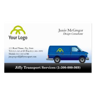 Tarjetas de visita azules de Van del transporte