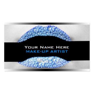 Tarjetas de visita azules del artista de maquillaj