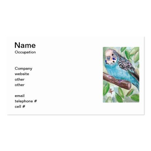 Tarjetas de visita azules del Parakeet