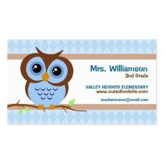 Tarjetas de visita azules del profesor de Owly
