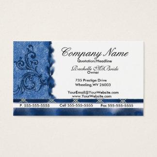 Tarjetas de visita azules elegantes del bordado