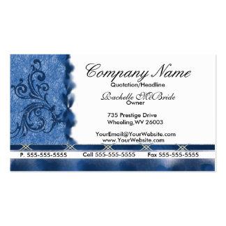 Tarjetas de visita azules elegantes del bordado de