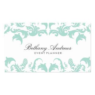 Tarjetas de visita azules elegantes del damasco -