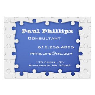 Tarjetas de visita azules y blancas del pedazo del