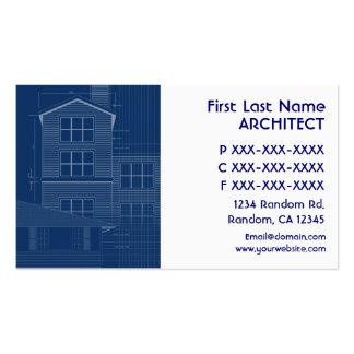 Tarjetas de visita blancas azules del arquitecto