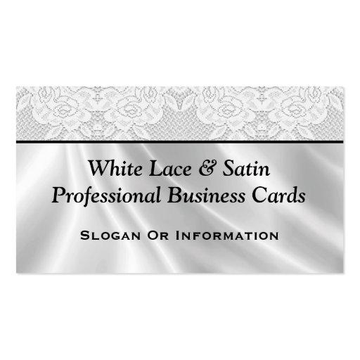 Tarjetas de visita blancas del cordón y del satén