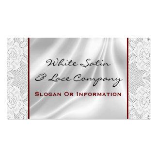Tarjetas de visita blancas del satén y del cordón