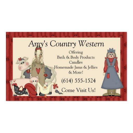 Tarjetas de visita:: Chica y animales de granja de Tarjetas De Visita