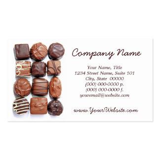 Tarjetas de visita clasificadas de los chocolates