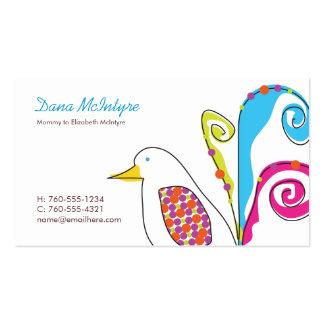 Tarjetas de visita coloridas de la mamá del pájaro