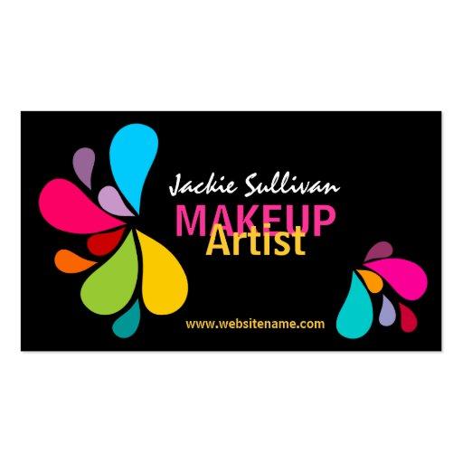 Tarjetas de visita coloridas del artista de maquil