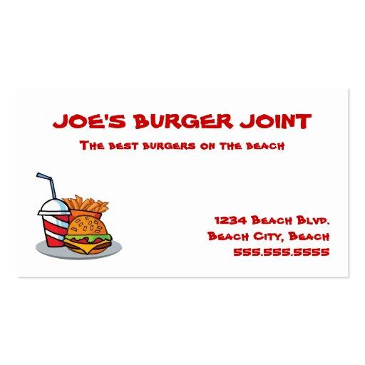 Tarjetas de visita comunes de la hamburguesa