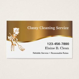 Tarjetas de visita con clase de la limpieza
