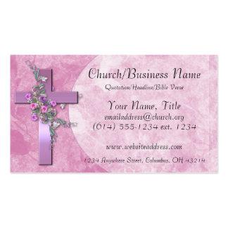 Tarjetas de visita: Cruz púrpura con las flores ro Tarjetas De Visita