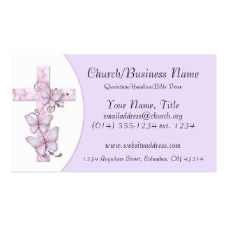 Tarjetas de visita: Cruz rosada/púrpura con las ma Tarjetas De Visita