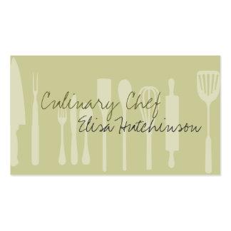 Tarjetas de visita culinarias del cocinero del