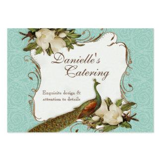 Tarjetas de visita - damasco floral de la magnolia