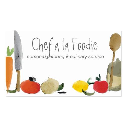 tarjetas de visita de abastecimiento del cocinero