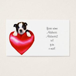 Tarjetas de visita de Boston Terrier del amor