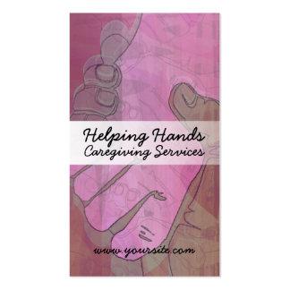 Tarjetas de visita de Caregiving de las manos amig