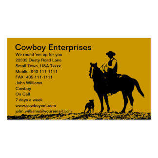 Tarjetas de visita de encargo del vaquero - person