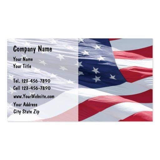 Tarjetas de visita de la bandera americana