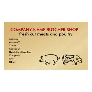 Tarjetas de visita de la carnicería
