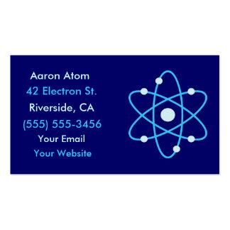 Tarjetas de visita de la ciencia del átomo