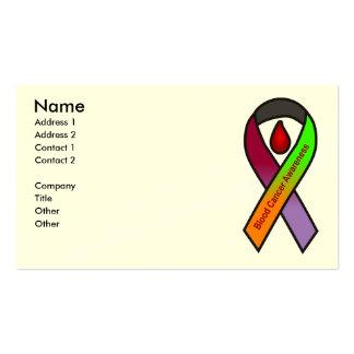 Tarjetas de visita de la conciencia del cáncer de