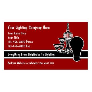 Tarjetas de visita de la iluminación