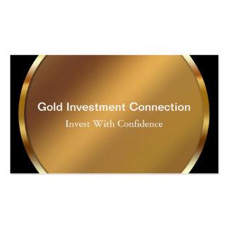 Tarjetas de visita de la inversión del oro