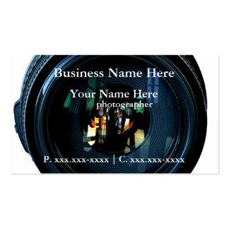 Tarjetas de visita de la lente de cámara del fotóg