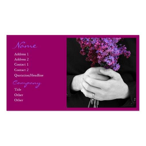 Tarjetas de visita de la lila