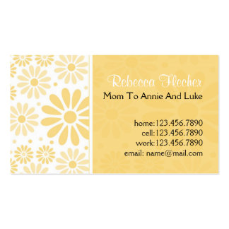 Tarjetas de visita de la mamá - flores amarillas