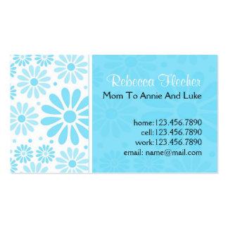 Tarjetas de visita de la mamá - flores azules